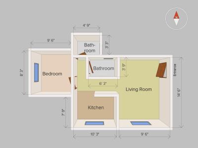 Floor Plan - 1 BHK Apartment in Katraj Kondhwa Road Near Katraj Lake, Katraj for sale - Pune | Housing.com