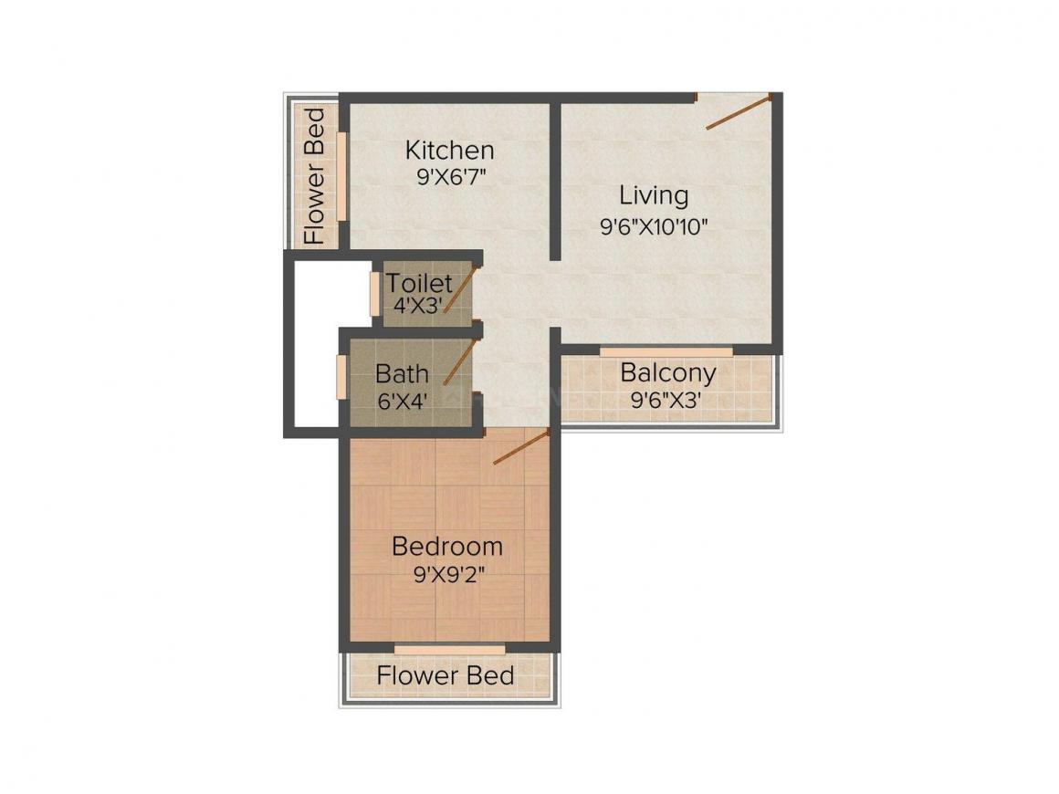 Floor plan of 1 bedroom apartment in tulip nilgiri gardens for Efficacy apartments